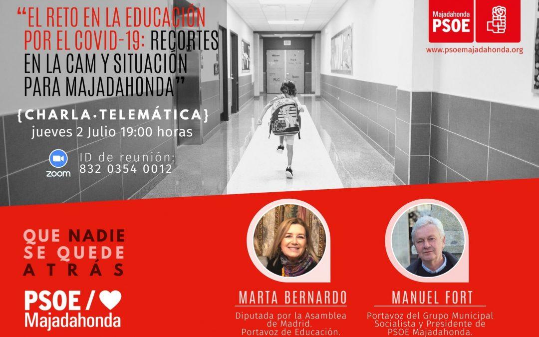 """Charla-debate """"El reto en la Educación por el COVID-19: recortes en la Comunidad de Madrid y situación para Majadahonda"""" con Marta Bernardo y Manuel Fort"""